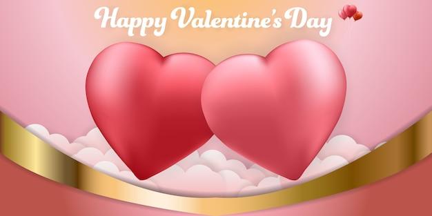 Bannière de milieux coeur saint valentin couple