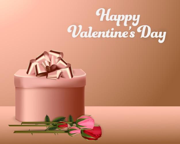 Bannière de milieux saint valentin cadeau boîte et roses
