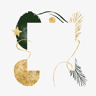 Bannière minimaliste abstraite du nouvel an avec carte de noël de branche de sapin de ligne de forme organique or