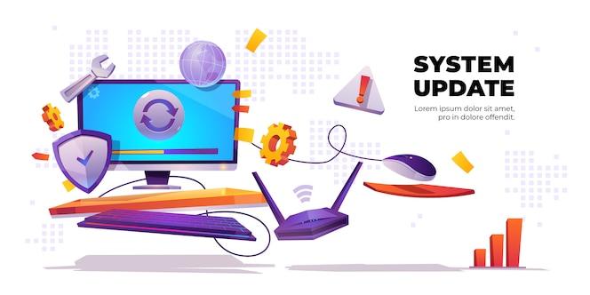 Bannière de mise à jour du système, installation de logiciels informatiques