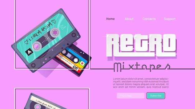Bannière mixtape rétro avec cassettes audio