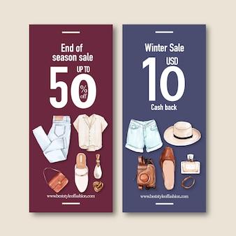 Bannière de mode avec jeans, chemise, accessoires