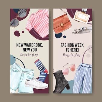 Bannière de mode avec sac, t-shirt, pantalon, chaussures