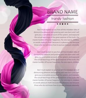 Bannière de mode avec tissu en soie volant violet et noir. fond avec deux morceaux de couler