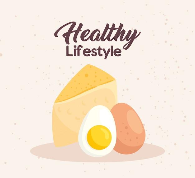Bannière mode de vie sain, fromage et œufs
