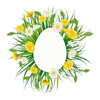Bannière de modèle bouquet d'oeufs de pâques avec bouquet de fleurs pissenlits et marguerites, camomille, herbe