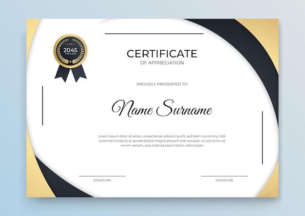 Bannière de modèle de certificat avec forme géométrique abstraite pour modèle d'impression avec vague dorée et blanc propre moderne