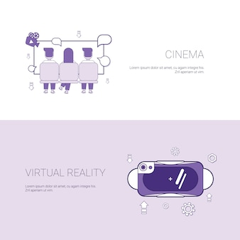 Bannière de modèle de concept de cinéma et de réalité virtuelle