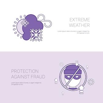 Bannière de modèle de concept de conditions météorologiques extrêmes et de protection contre la fraude