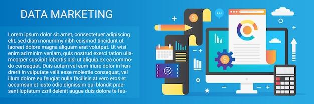 Bannière de modèle de concept de marketing de données avec icônes et texte