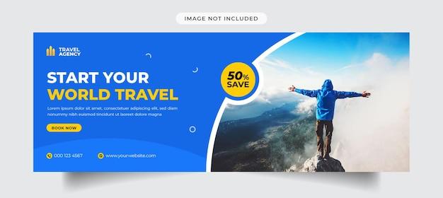 Bannière et modèle de couverture facebook de voyage