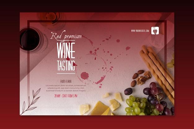 Bannière de modèle de dégustation de vin