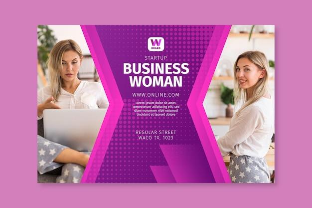 Bannière de modèle de femme d'affaires