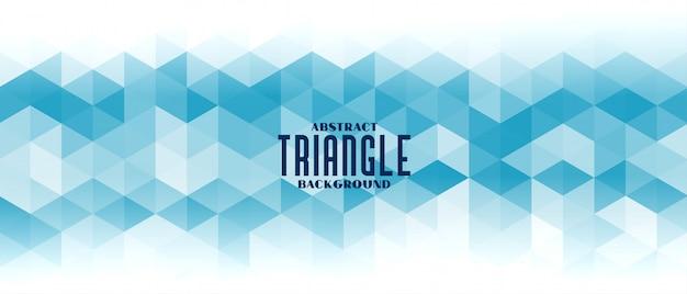 Bannière de modèle de grille triangle bleu abstrait