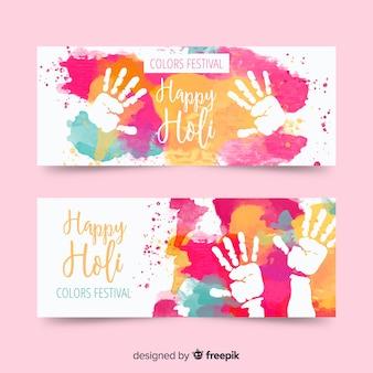 Bannière de modèle holi aquarelle mains