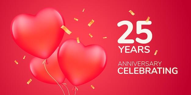 Bannière de modèle d'icône de logo vectoriel anniversaire 25 ans avec des ballons à air rouges 3d