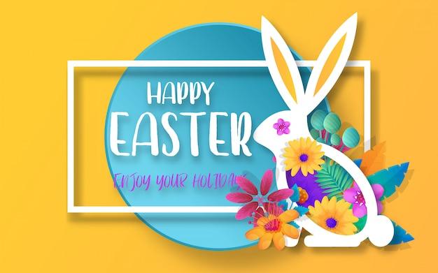 Bannière de modèle avec logo pour l'offre de printemps joyeux pâques