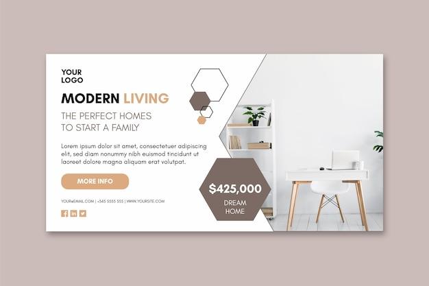 Bannière de modèle de maisons modernes