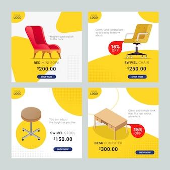 Bannière de modèle de médias sociaux de meubles