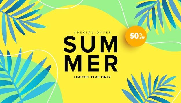 Bannière de modèle modifiable de vente d'été éléments liquides liquides feuilles tropicales et bulle