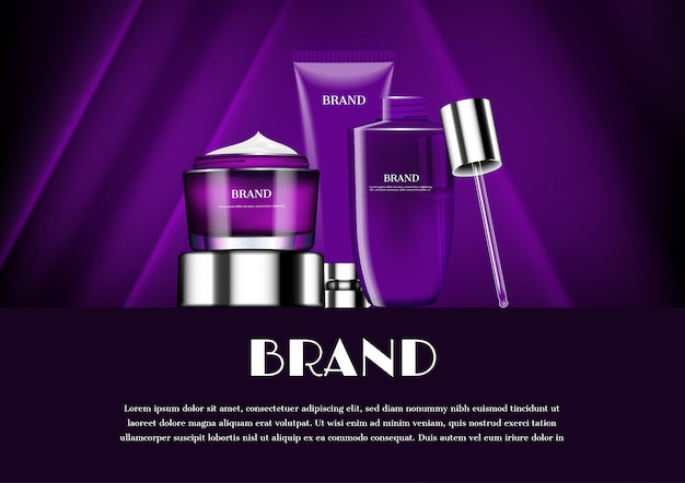 Bannière de modèle de produits cosmétiques