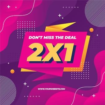 Bannière de modèle de promotion 2x1