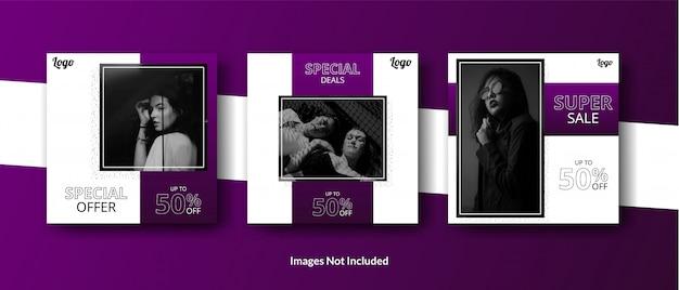 Bannière de modèle de publication de flux de médias sociaux minimaliste violet foncé