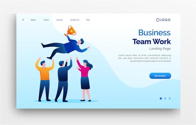 Bannière de modèle de site web de page de destination pour le travail d'équipe commerciale