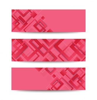 Bannière de modèle tendance dégradé carré rose moderne