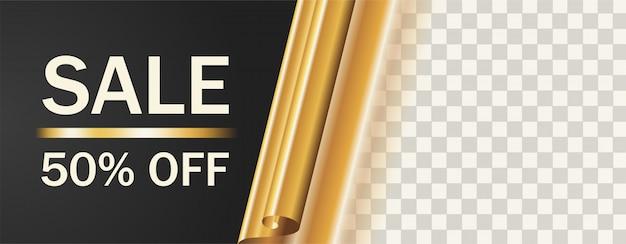 Bannière de modèle transparent vente et rouleau doré et carte d'offre
