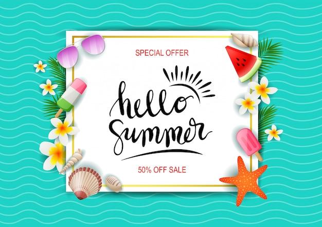 Bannière de modèle de vente de l'été.