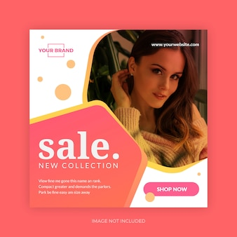 Bannière de modèle de vente de mode nouvelle collection