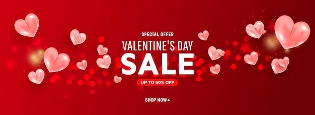 Bannière de modèle de vente saint valentin avec des formes de coeur air ballon 3d