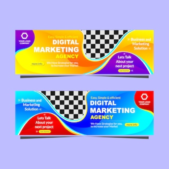 Bannière moderne, agence de marketing numérique
