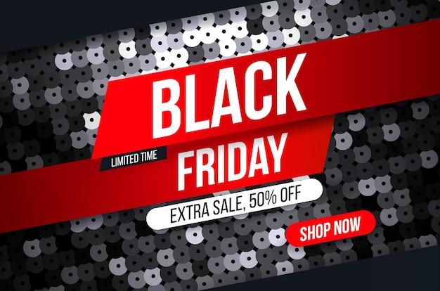Bannière moderne black friday avec effet tissu pailleté noir pour des offres spéciales, des soldes et des remises.