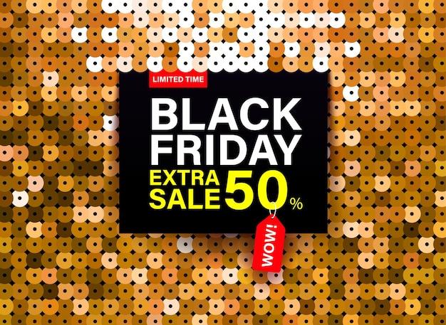 Bannière moderne black friday avec effet de tissu à paillettes dorées pour des offres spéciales, des soldes et des remises.