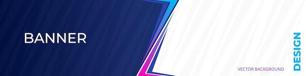 Bannière moderne colorée horizontale bleue et blanche large et légère
