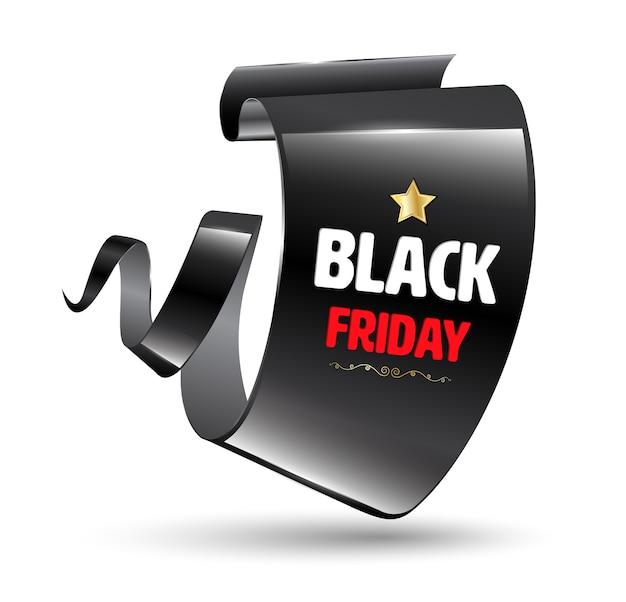 Bannière moderne courbe noire réaliste. ruban de vente vendredi noir