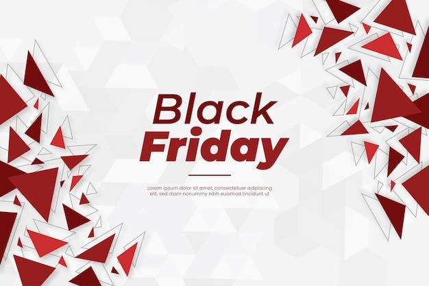 Bannière moderne du vendredi noir avec des formes géométriques abstraites rouges