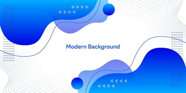 Bannière moderne de forme fluide abstraite bleue