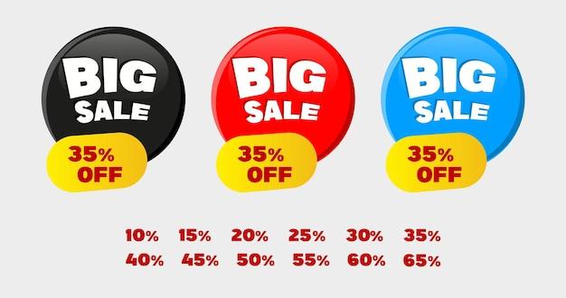 Bannière moderne de grande vente en bouton moderne avec des couleurs rouges bleu noir
