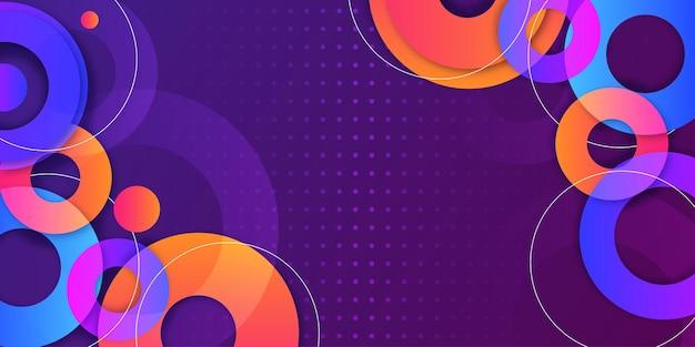 Bannière moderne de memphis avec fond de formes colorées