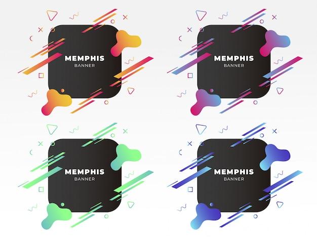 Bannière moderne de memphis avec des formes abstraites