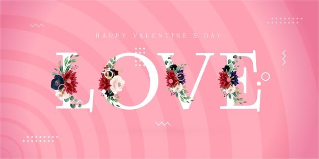 Bannière moderne de memphis happy valentine's day