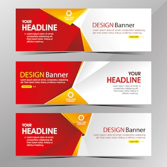 Bannière moderne de modèle web blanc et rouge propre, bannières de promotion vente discount