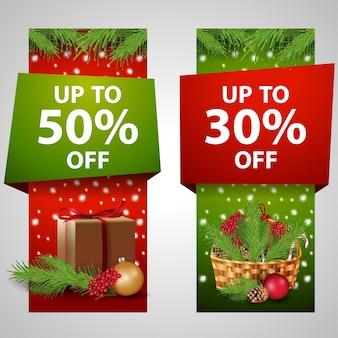 Bannière moderne de noël avec 50% et 30% de vente