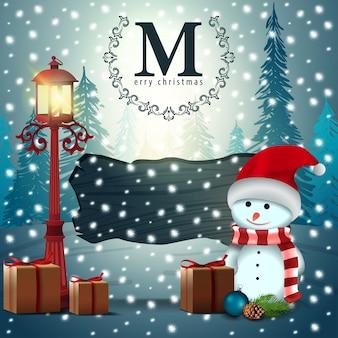 Bannière moderne de noël. bonhomme de neige avec des cadeaux