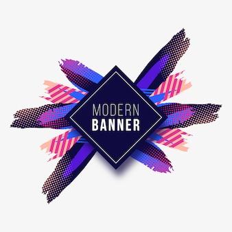 Bannière moderne avec des traits colorés