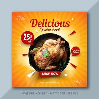 Bannière modifiable promotion des médias sociaux alimentaires et modèle instagram