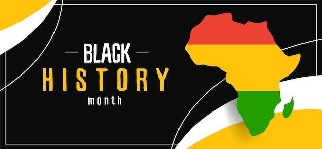 Bannière mois de l'histoire des noirs avec une carte de l'afrique. affiche abstraite avec un symbole de drapeau.